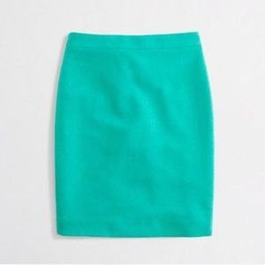 Teal Pencil Skirt In Double-Serge Wool